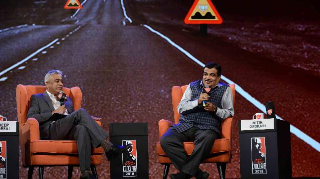 Nitin Gadkari in conversation with Rajdeep Sardesai at the India Today Conclave 2018.
