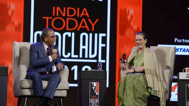 Aroon Purie and Sonia Gandhi at India Today Conclave 2018 in Mumbai