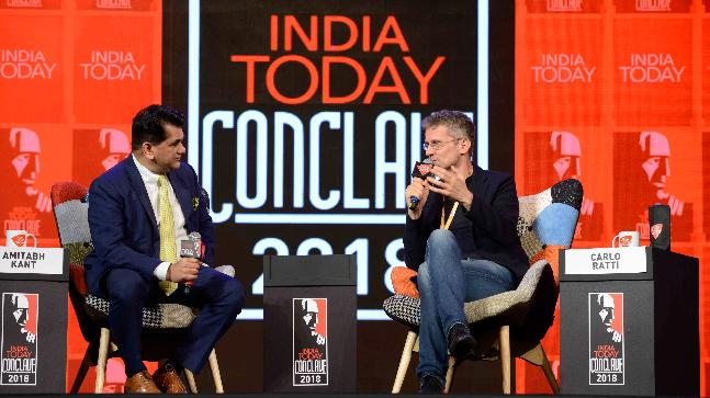 Niti Aayog CEO Amitabh Kant in conversation with Carlo Ratti at the India Today Conclave 2018