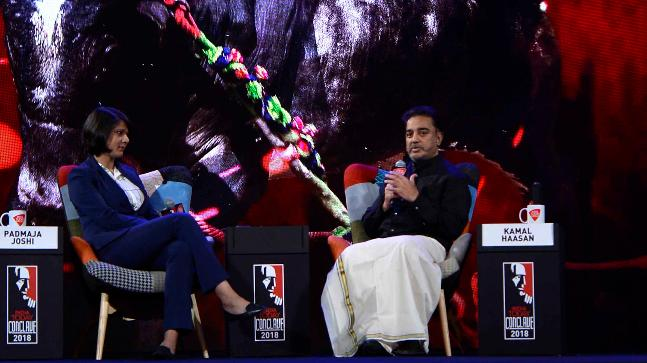 Actor-turned-politician Kamal Haasan at the India Today Conclave 2018