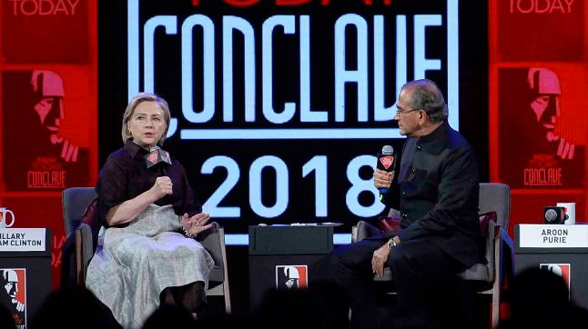 Hillary Clinton in conversation with Aroon Purie at the India Today Conclave 2018