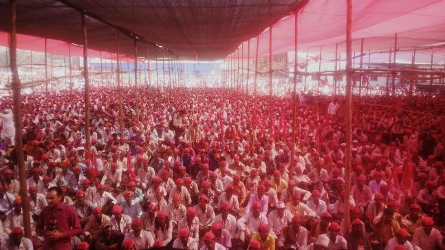 Farmers gathered at Mumbai's Azad Maidan