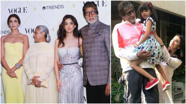 Shweta Nanda, Jaya Bachchan and Navya Naveli Nanda with Amitabh Bachchan (L) and Amitabh Bachchan with Aaradhya Bachchan and Aishwarya Rai Bachchan
