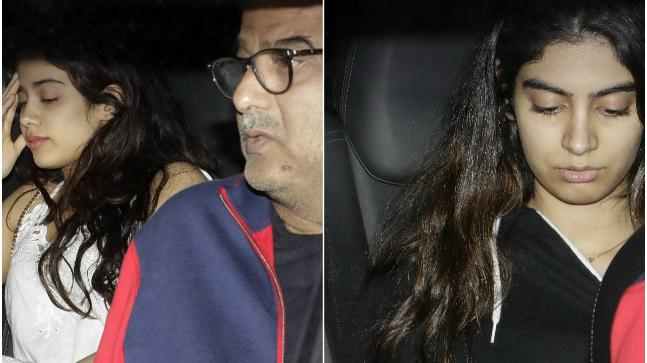 Boney Kapoor visits Arjun Kapoor with his daughters Khushi and Janhvi