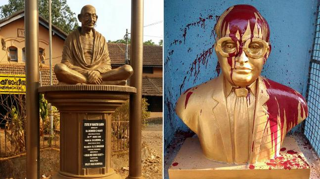 Busts of Gandhi, Ambedkar defaced