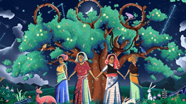 Google doodle celebrates 45th anniversary of Chipko movement