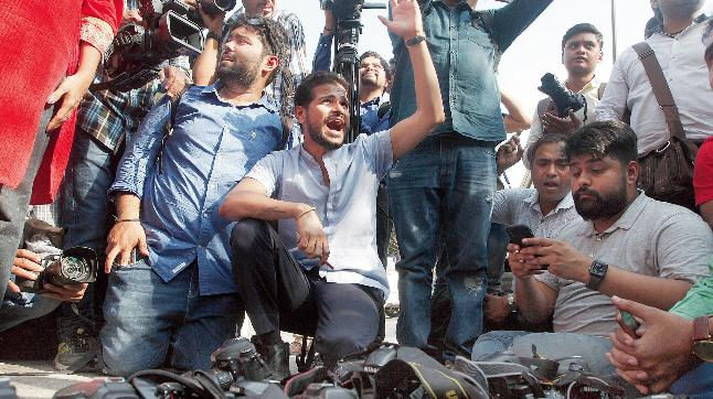 JNU students, teachers' march to Parliament halted, face lathi-charge, water canons