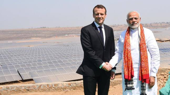 French President Emmanuel Macron and Prime Minister Narendra Modi after inaugurating a solar power plant in Mirzapur.