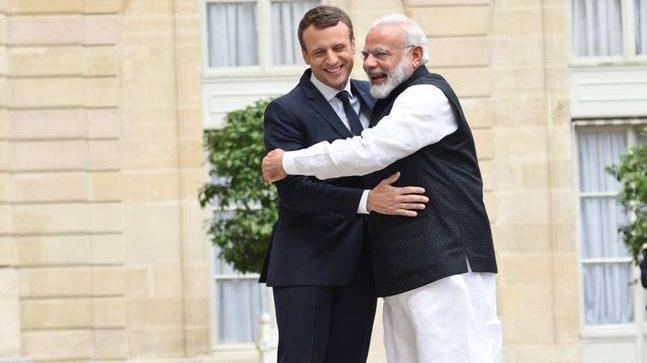 Prime Minister Narendra Modi with President of France Emmanuel Macron. (Photo: @PMOIndia)