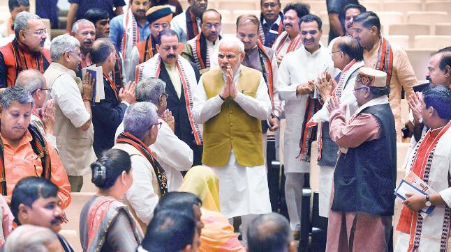 Prime Minister Narendra Modi arrives for the BJP parliamentary party meeting in New Delhi on Tuesday. (Photo: Pankaj Nangia)