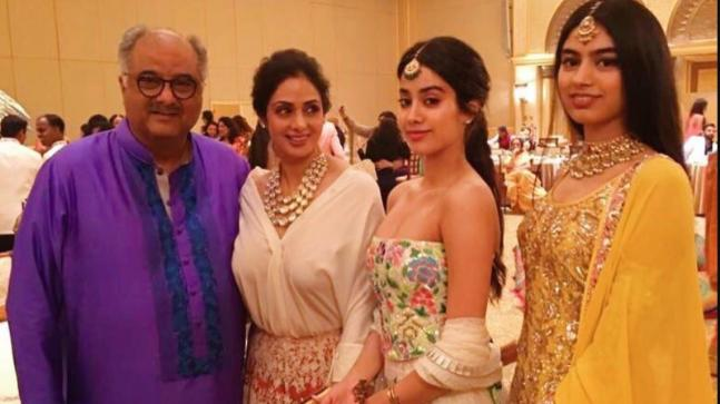Boney Kapoor, Sridevi, Janhvi and Khushi Kapoor