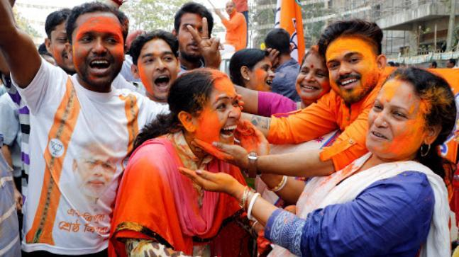 BJP supporters celebrate in Agartala. (Photo: Reuters)