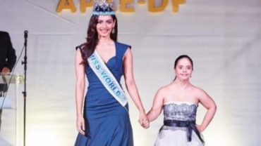 Manushi Chhillar walks the ramp with a Down Syndrome patient.