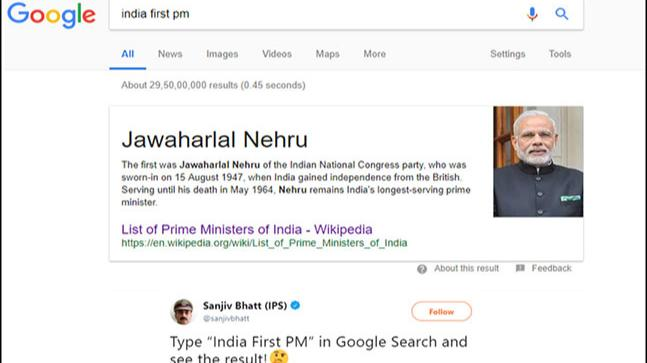 ab01aa6322ea What India s first PM looks like according to Google - Education ...