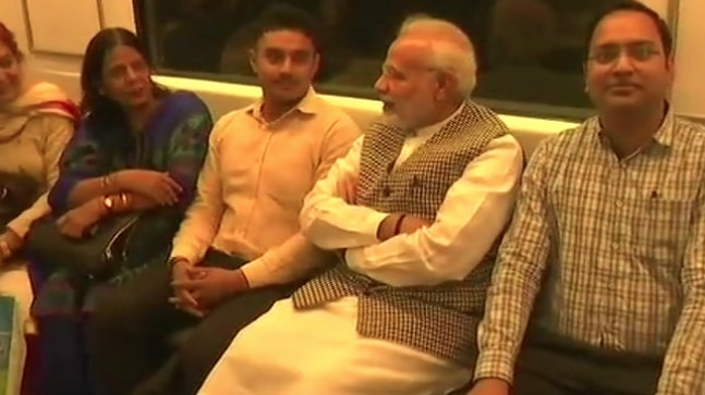 PM Modi commutes in Delhi Metro to attend Ambedkar memorial event