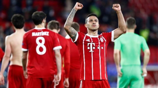 Thiago's late header seals Bayern win against Sevilla