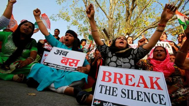 Protest against the rape of an eight-year-old girl in Kathua near Jammu, and a teenager in Unnao, Uttar Pradesh state. (REUTERS/Ajay Verma)