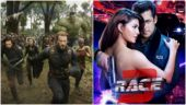 A still from Avengers: Infinity War (L) and the poster of Race 3