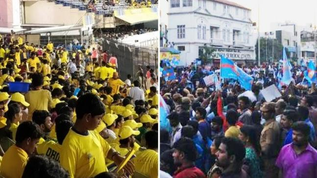 Fans inside Chennai's Chepauk stadium during the CSK-KKR match, and protestors outside the venue