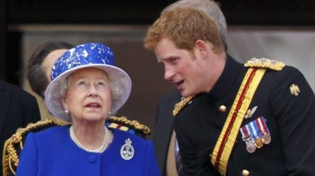 Queen Elizabeth with Prince Harry