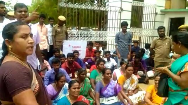 Protesters at the college in Virudhunagar.