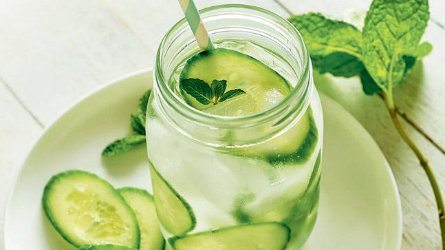 Water infused with cucumber rehydrates and cools your body from the inside.
