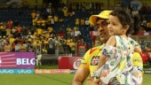 Watch: Ziva plays with MS Dhoni after CSK knock KXIP out