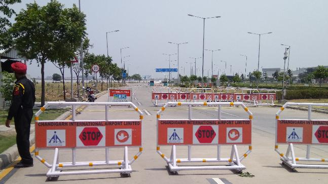 All the roads leading to Chandigarh Airport have been barricaded.