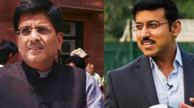 Minister of Railways Piyush Goyal and Rajyavardhan Rathore