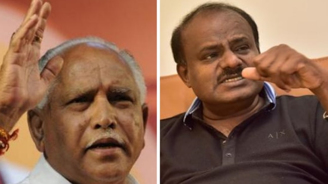 BS Yeddyurappa (left) and HD Kumaraswamy