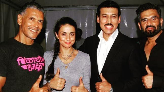 Milind Soman, Gul Panag, Rajyavardhan Rathore and Suniel Shetty at an event in Delhi for promoting fitness.
