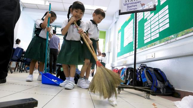 Image result for kids in college cleaning