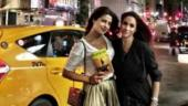 Priyanka off to BFF Meghan's wedding. At least her travel tales say so
