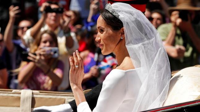 Meghan wore a customised couture gown by Claire Waight Keller of Givenchy.