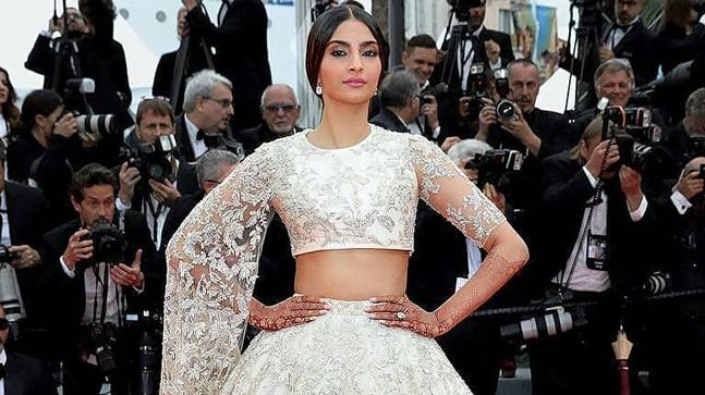 Sonam Kapoor chose a customised Ralph and Russo lehenga for her first appearance on the Cannes red carpet this year