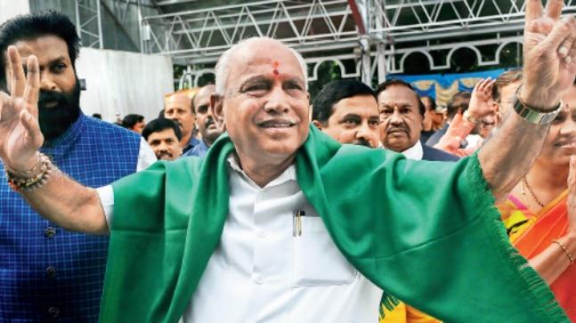 A jubilant BS Yeddyurappa who was sworn in as Karnataka CM on Thursday.