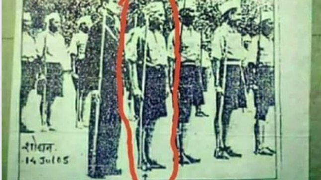 Jawaharlal Nehru in boy scout uniform? Was he at RSS camp