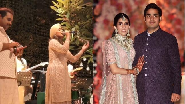 Shankar Mahadevan and Harshdeep Kaur perform at the pre-engagement sangeet of Akash Ambani and Shloka Mehta
