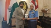 Harinder Sikka, author of Calling Sehmat, with Admiral Sunil Lanba