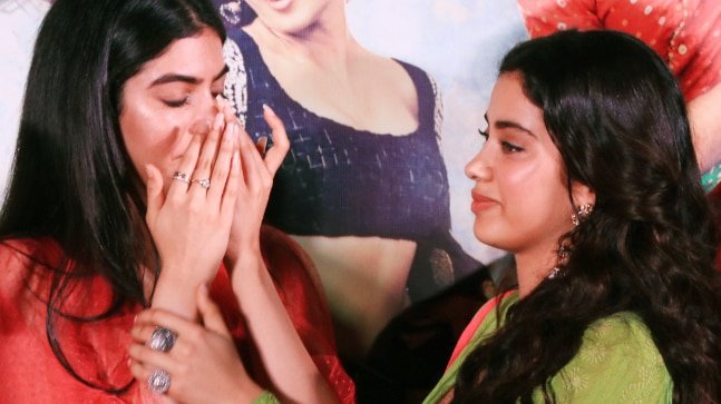 Khushi Kapoor (L) and Janhvi Kapoor at the Dhadak trailer launch
