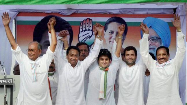 Digvijaya Singh, Kamal Nath, Jyotiraditya Scindia with Rahul Gandhi. Image credit: PTI