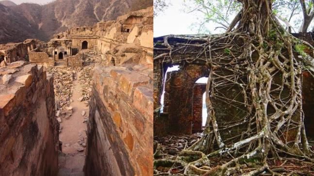 Bhangarh (left) and Ross Island.