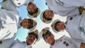 All-women Indian Navy crew after returning from historic world cruise aboard INSV Tarini