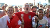 England's female football fans cheer for their team during the World Cup semi-final vs Croatia (Reuters Photo)