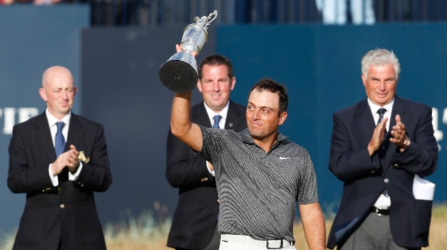 Francesco Molinari became the first Italian to win a major championship by securing the British Open title. (Reuters Photo)