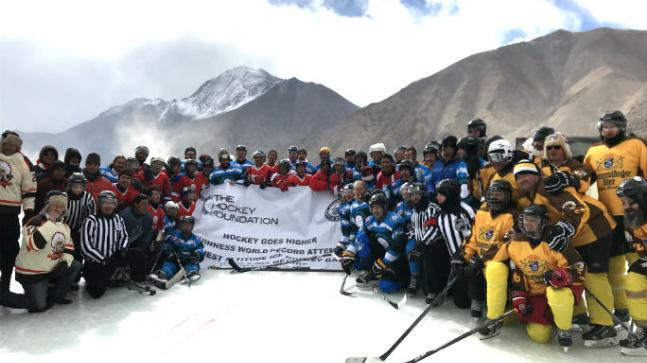The Hockey Foundation sets the record of world's highest altitude ice hockey game
