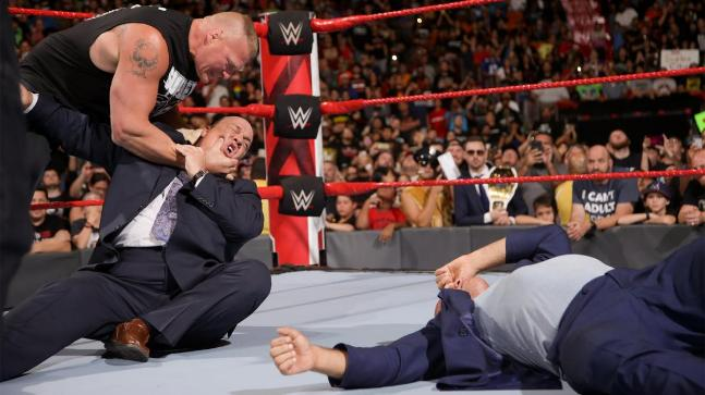 Brock Lesnar attacked Paul Heyman on RAW on Monday