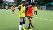MS Dhoni teams up with Dhadak star Ishaan Khatter for a game of football