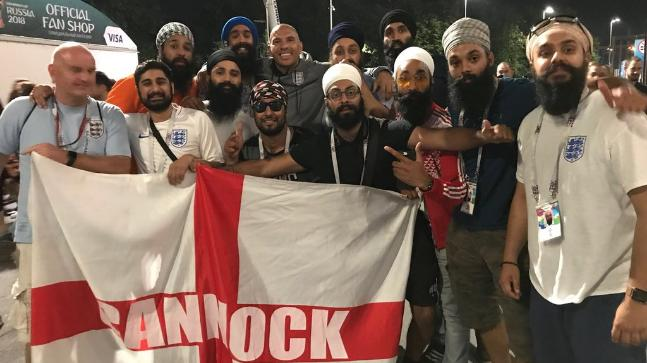 2018 FIFA World Cup: An army of Sikh fans were present to support England against Croatia in the semi-final. (@StanCollymore Twitter Photo)