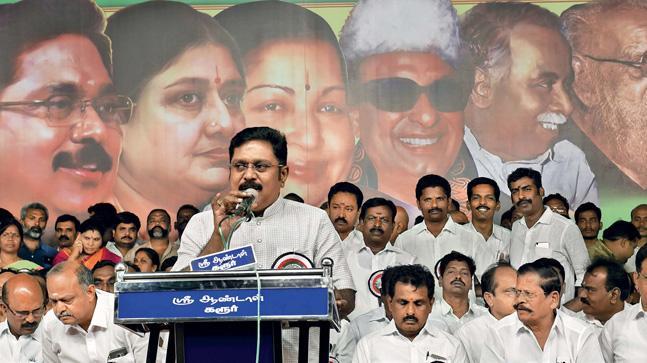 Dhinakaran at the Amma Makkal Munnetra Kazhagam meeting in Coimbatore(Photo- JAISON G)